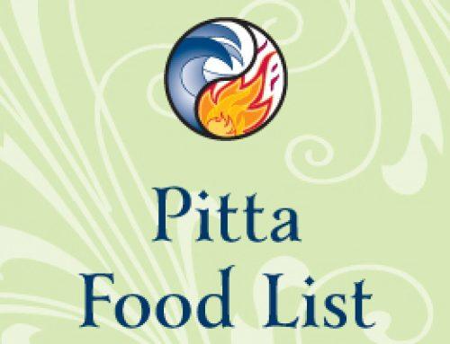 Pitta Food List